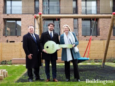 Canary Wharf Group CEO Sir George Lacobescu, Qatari Diar CEO Tariq Al Abdulla and Lambeth Council Leader Lib Peck at the Lollard Street development handover in January 2019. The key to the completed homes is handed over to the council.