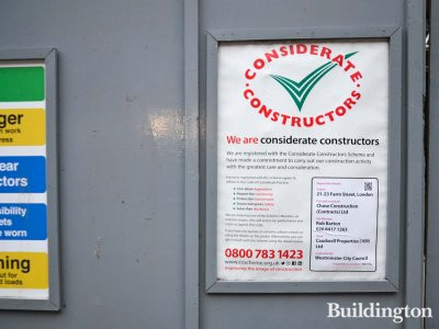 Considerate Constructors scheme banner at 21-23 Farm Street.