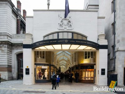 View to Burlington Arcade from Burlington Gardens.