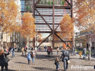 CGI of the proposed courtyard at New City Court development. Screen capture from the public exhibition materials at newcitycourt.com