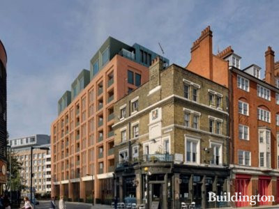 Southwark Fire Station - CGI view from Southwark Bridge Road