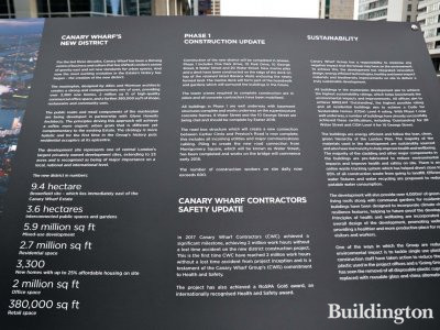 Canary Wharf Construction site information stand next to Wood Wharf.