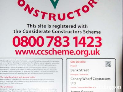 Considerate Constructors banner for Bank Street development.