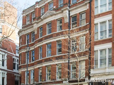 Burleigh Mansions building on Charing Cross Road, London WC2.