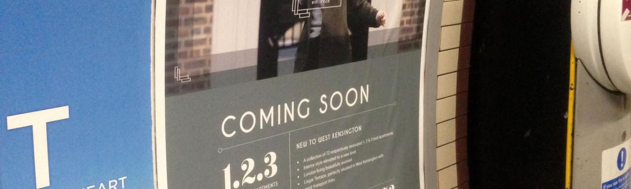 Samuel Square development advert in Earls Court underground station.