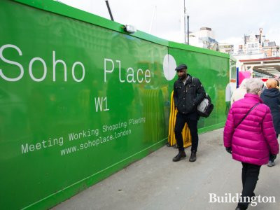 Soho Place development in London W1. Hoarding on Charing Cross Road.