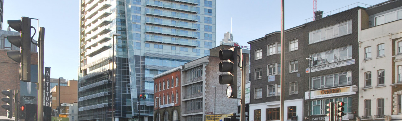 View to the 101 Whitechapel High Street site from Whitechapel High Street.