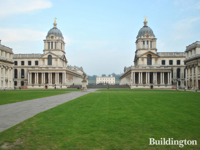 Old Royal Naval College buildings - Queen Mary Court on the left and King William Court on the right; Queen's House in the background.