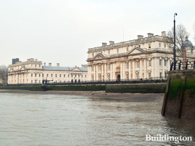 Old Royal Naval College buildings - Queen Anne Court (left) and King Charles Court (right).