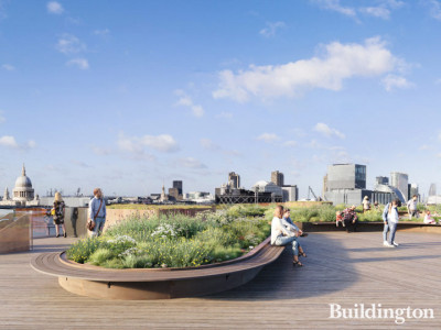 CGI of the roof terrace at Seal House redevelopment designed by Eric Parry Architects.