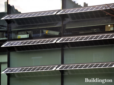 Solar panels on the facade of 20 Eastbourne Terrace office building.