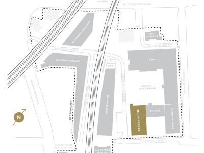 Battersea Exchange site plan in the development brochure