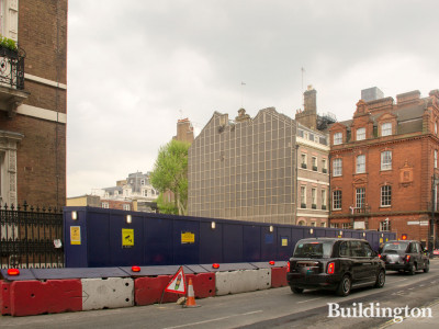 View to Audley Square development by Caudwell Collection from South Audley Street in May 2019.