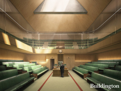 Indicative image of the proposed temporary House of Commons Chamber.