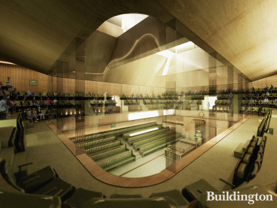 Indicative image of the proposed temporary House of Commons Chamber as viewed from the public gallery.