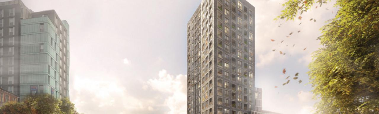 Juniper House development site on Hoe Street in Walthamstow Town Centre, London E17.