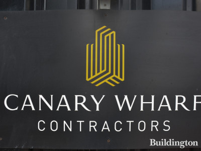 Canary Wharf Contractors banner on One Bank Street development.