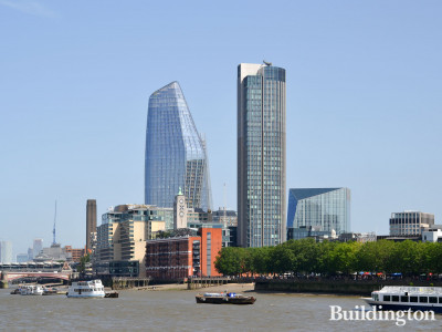 The South Bank Tower next to One Blackfriars. View from across the River Thames.