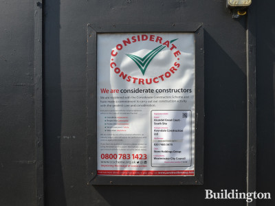 Considerate Constructors Scheme banner at Arundel Great Court - South Site.