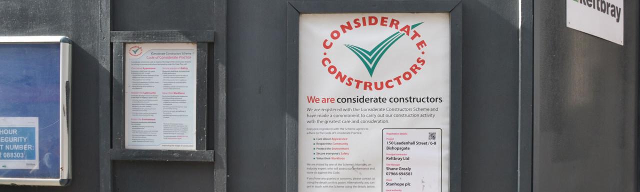 Considerate Constructors Scheme banner at 150 Leadenhall Street/6-8 Bishopsgate.