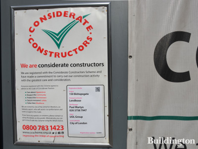 Considerate Constructors scheme banner at 150 Bishopsgate.
