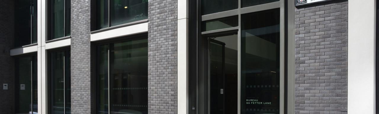 Bureau 90 Fetter Lane entrance on Norwich Street in the City of London EC4..
