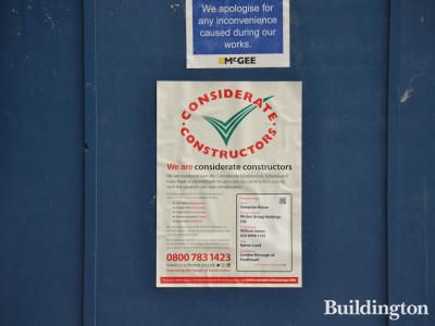 Considerate Constructors banner on the site of the Sampson House demolishing works.