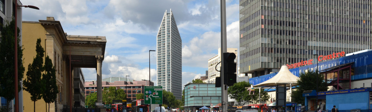 View to Two Fifty One building from Elephant and Castle.