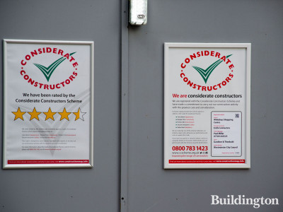 Considerate Constructors banner at the Whiteleys development site.
