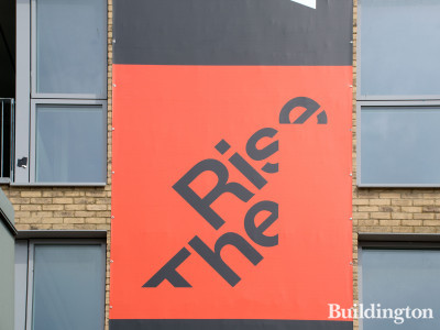 The Rise logo on the building.