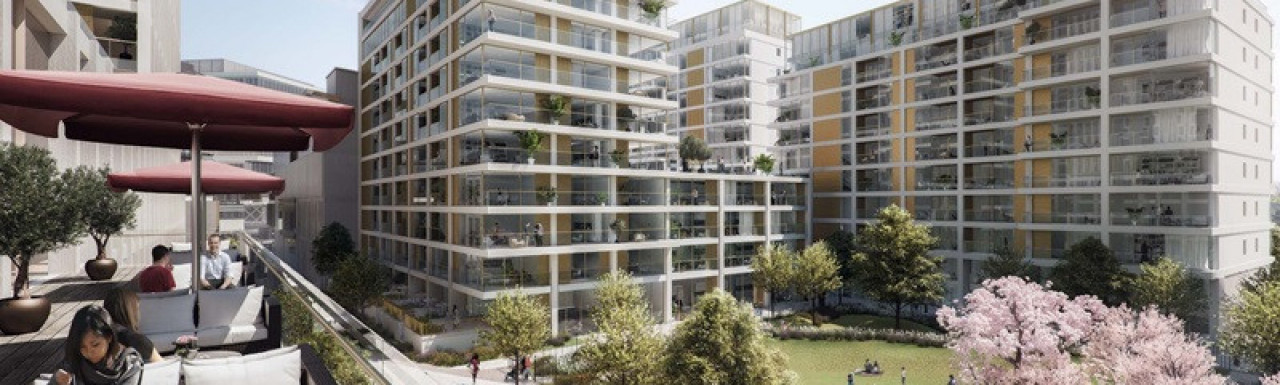 CGI of the Cherry Park development designed by PRP Architects.