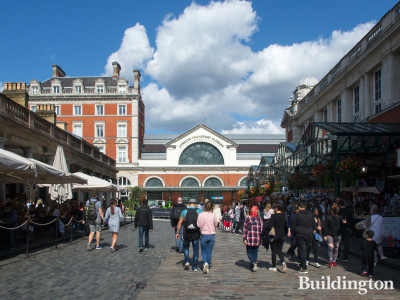 View to the London Transport Museum building from Covent Garden market.