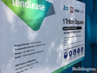 Lendlease's information banner at 1 Triton Square development.