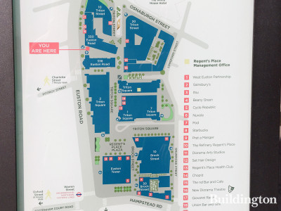 Regent's Place site map at 350 Euston Road.