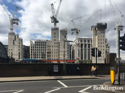 View to the new Google's headquarters building from York Way.