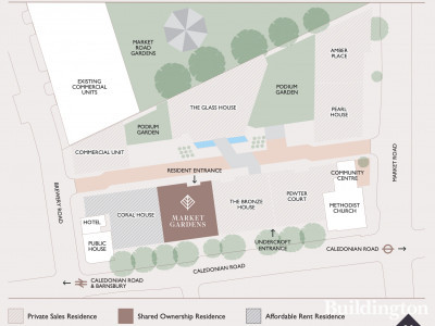 Site Map of Market Gardens building in the London Square Caledonian Road.