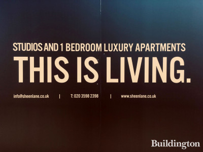 1 Olympic Way development hoarding. This Is Living. Studios and 1 bedroom apartments.