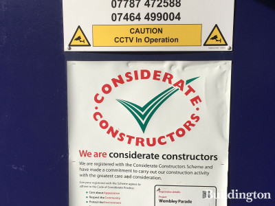 Considerate Constructors Scheme banner at Wembley Parade development.