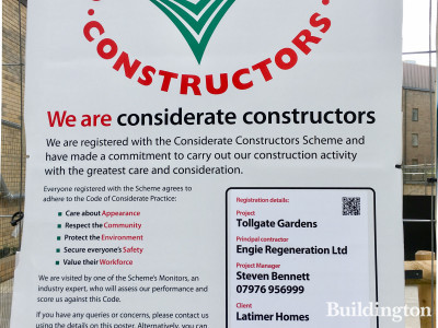 Considerate Constructors scheme banner at Noma development site.