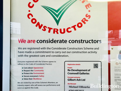 Considerate Constructors Scheme banner at Cromwell Place. re-development of Cromwell Galleries.