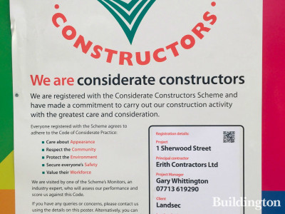 Considerate Constructors Scheme banner at One Sherwood Street development.
