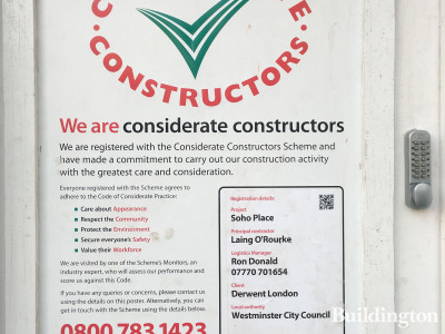 Considerate Constructors Scheme banner at Soho Place development on Tottenham Court Road, London W1.