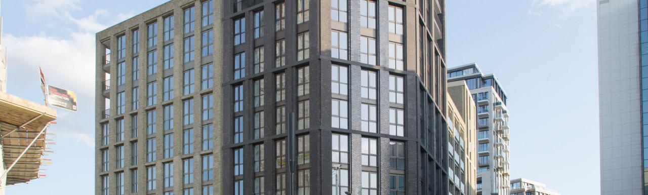 Emery Wharf building in the London Dock development in Wapping, London E1.
