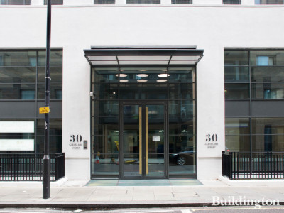 Entrance to 30 Cleveland Street in Fitzrovia, London W1.