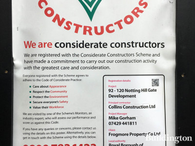 Considerate Constructors Scheme banner at United House development in Notting Hill Gate in London W11.