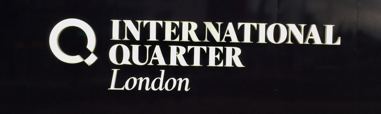 The International Quarter hoarding on Waterden Road.