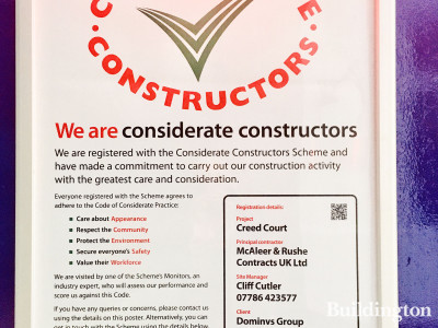 Considerate Constructors Scheme poster at Creed Court development.
