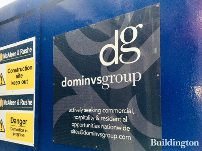 Creed Court - developer Dominvs Group banner on hoarding.