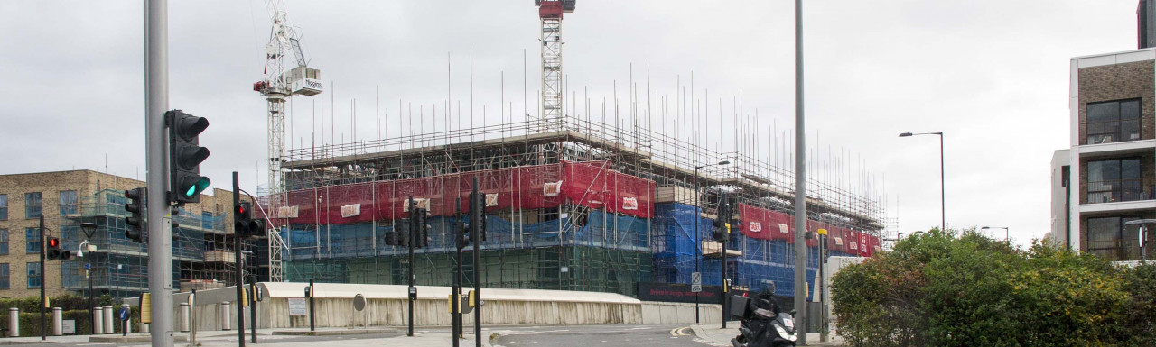 New Stratford Works development by Higgins under construction on Penny Brookes Road in Stratford, London E15.