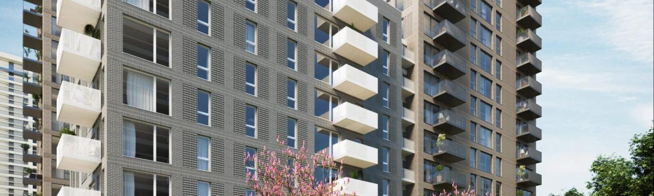 CGI of Kidbrooke Station Square development designed by Glen Howells Architects